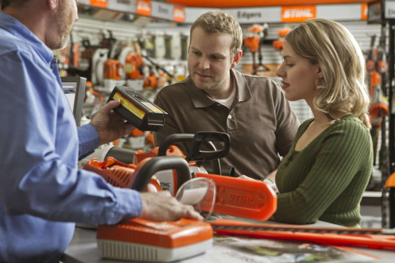 Image of customers in a STIHL Dealership.
