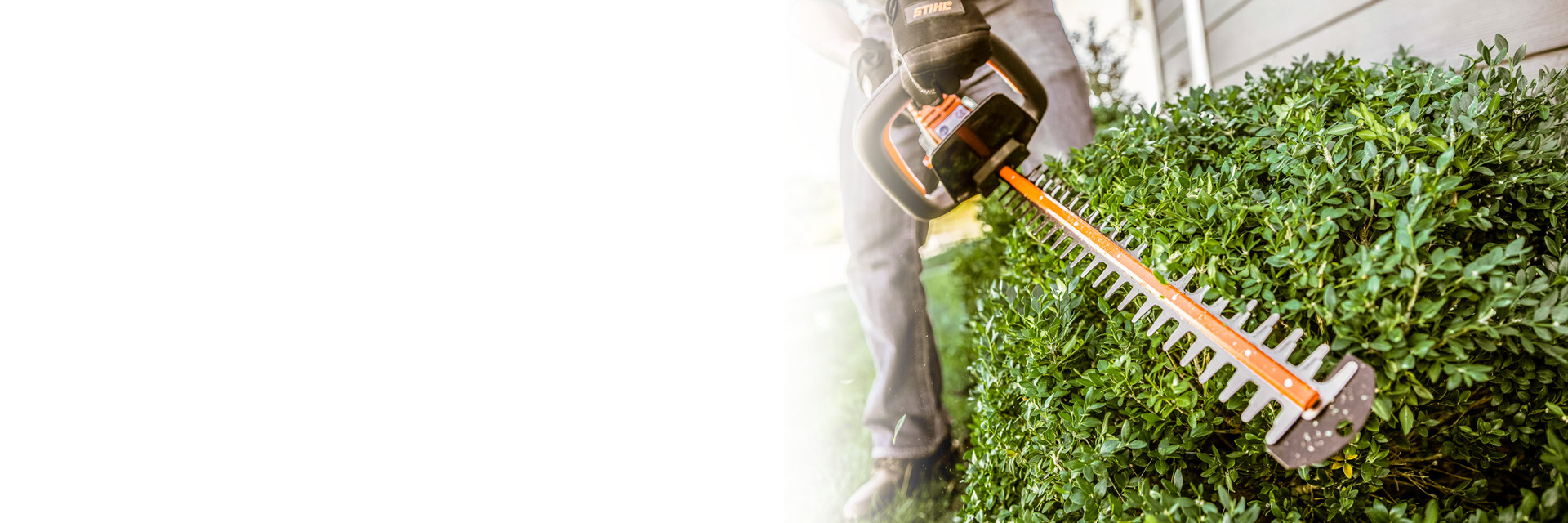 Action image of a STIHL hedge trimmer being used.